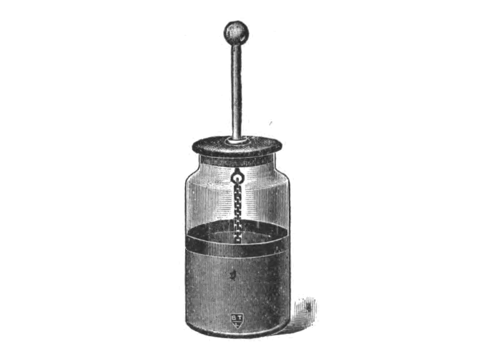 Etching of a Leiden jar with an inner layer of tinfoil and a dangling electrode from a 1919 physics textbook.   Wikimedia Commons  (public domain)