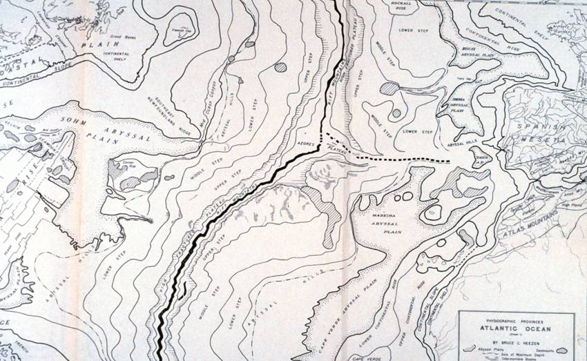 Marie Tharp, Bruce Heezen, and Doc Ewing documented the features of the Atlantic seafloor in detailed maps like this one.   NOAA  (public domain)