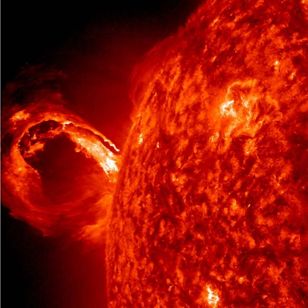 This coronal mass ejection (CME) blew out from the Sun in 2013 in a glorious roiling wave, travelling at more than a million kilometres per hour.   Courtesy of NASA/SDO and the AIA, EVE, and HMI science teams  (Public domain)