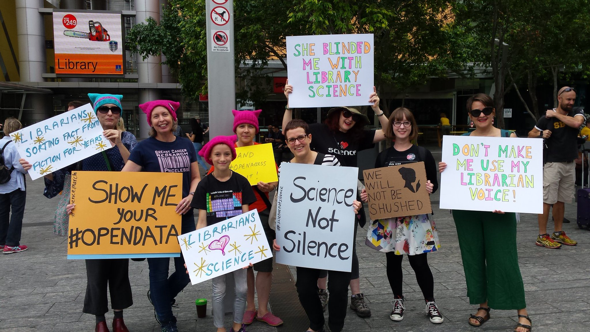 Librarians marching in Brisbane, Australia.   ALIA Qld/Flickr  (CC BY 2.0)