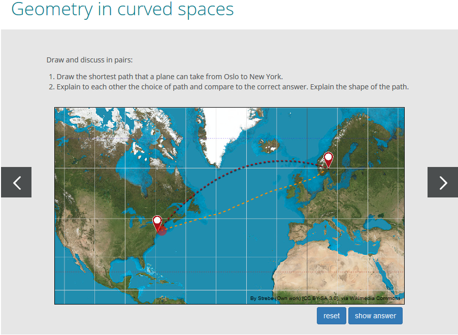 In curved spaces geometry can play tricks on you. Norwegian science educators have developed a digital learning environment in which students get to explore the geometry of space and time.   ReleQuant (CC BY-NC-ND 4.0)