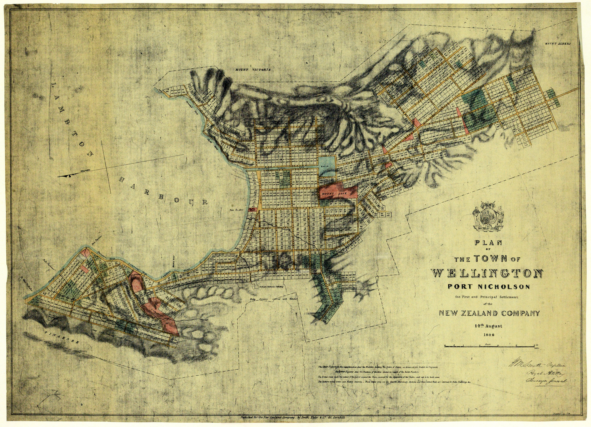 Map of alllotted residential bocks drawn up by the New Zealand company, outlining the new town in 1840.  Archives New Zealand /Flickr (CC BY 2.0)