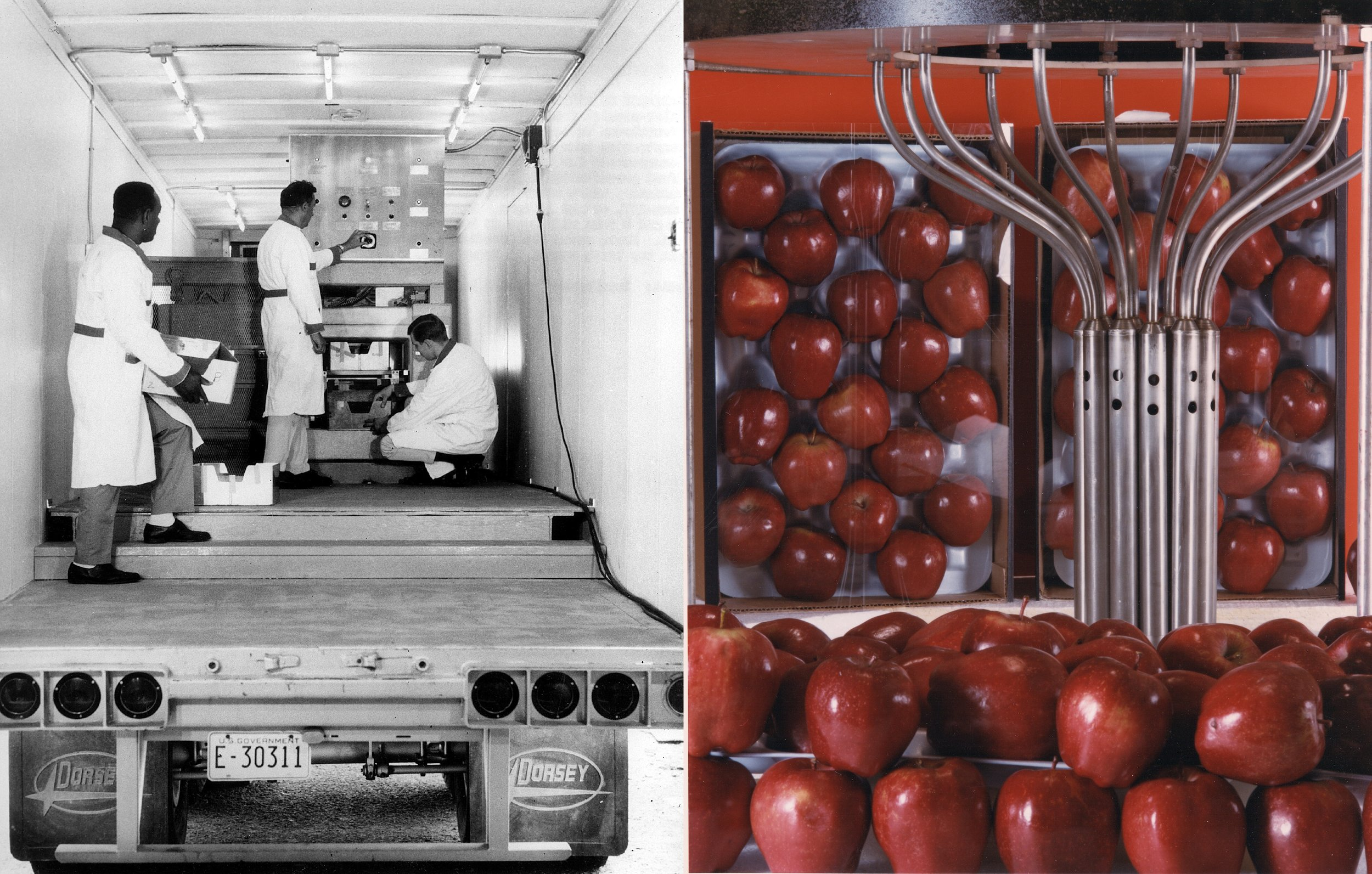 A trailer-mounted food irradiation facility that toured the United States for two years in the late 1960s (left), and a Cobalt-60 irradiation facility used to test irradiation in the 1980s (right).   US Department of Energy / Wikimedia Commons  (public domain)
