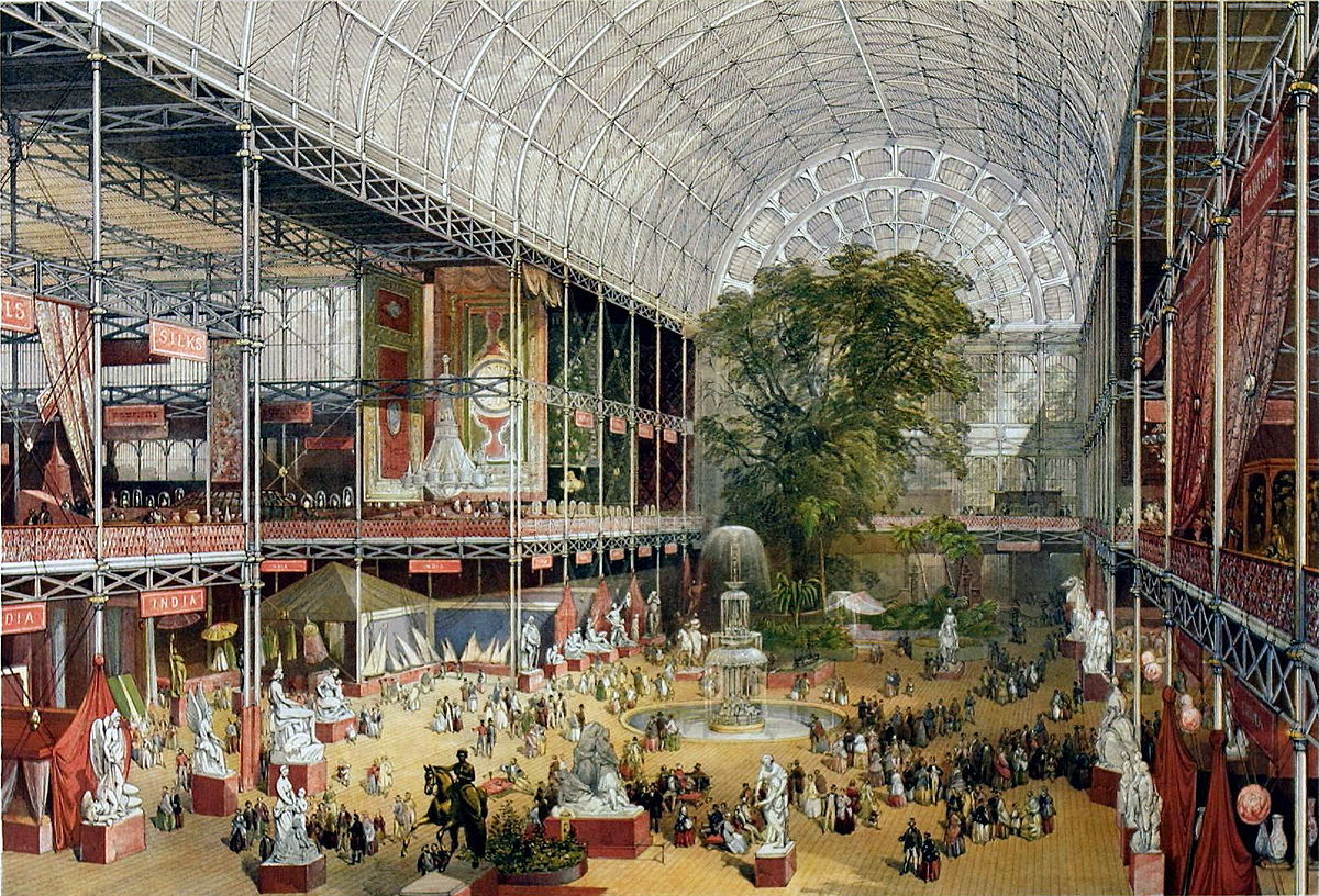 Print depicting the transept of the Crystal Palace during the Great Exhibition, 1851, at which the first recorded imitation fruit flavours were presented.   J. McNeven/Wikimedia Commons (public domain).