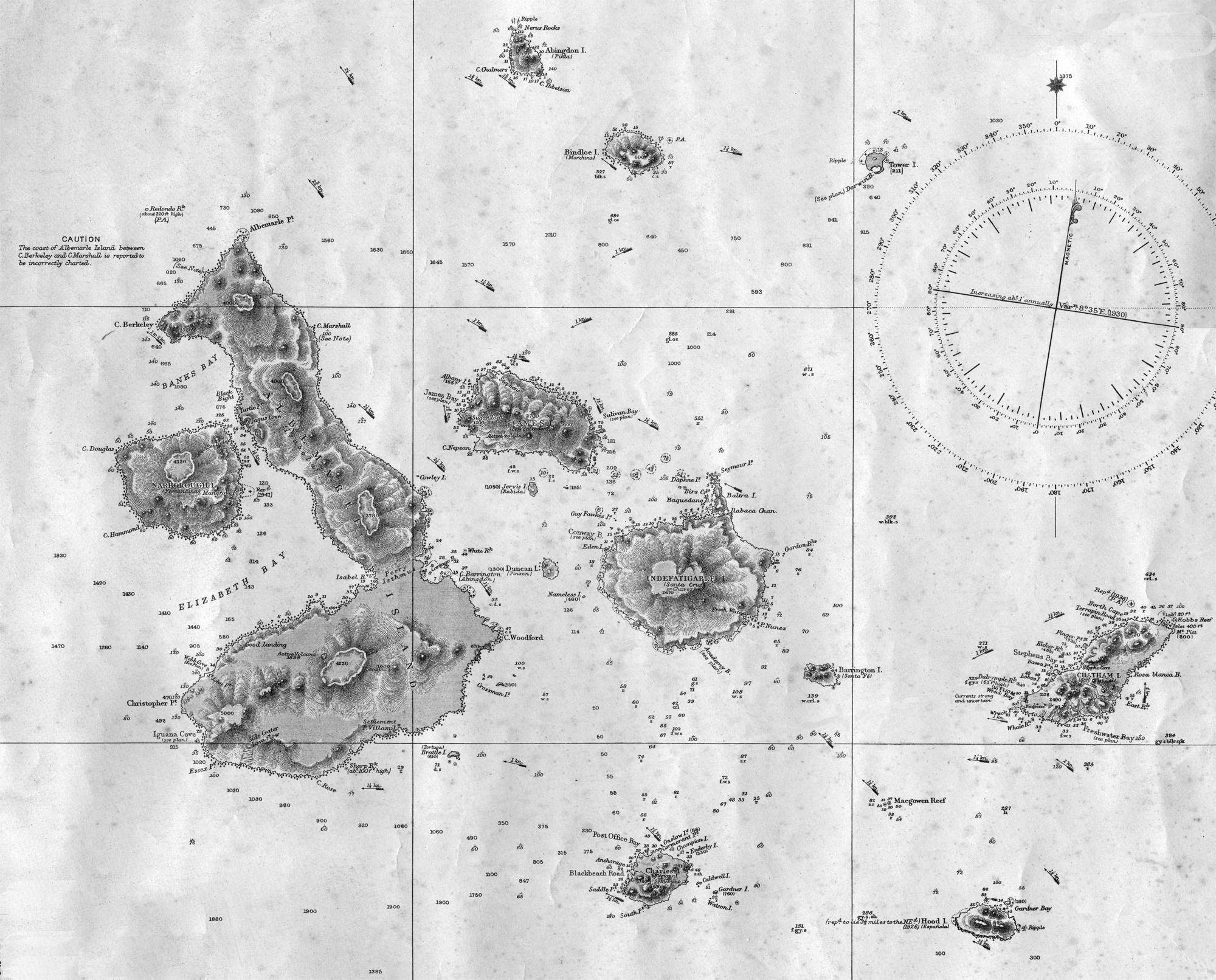 The Galapagos Islands (mapped here in 1836) are home to many creatures that are unique to their isolated environments.   British Admiralty  (public domain)