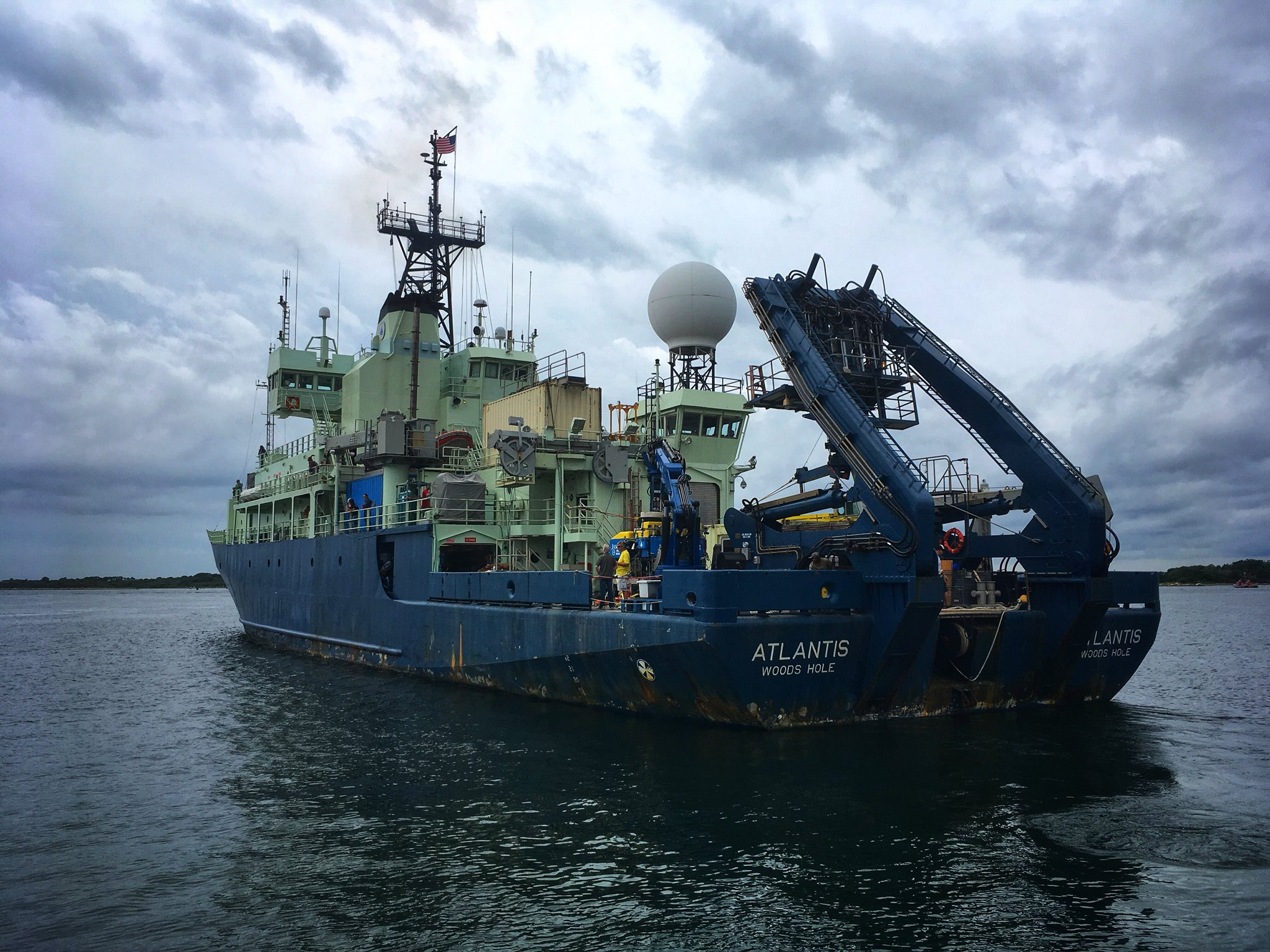 The research vessel  Atlantis  leaving Woods Hole for its month-long expedition to the middle of the Atlantic Ocean.  © Rika Anderson (used with permission)