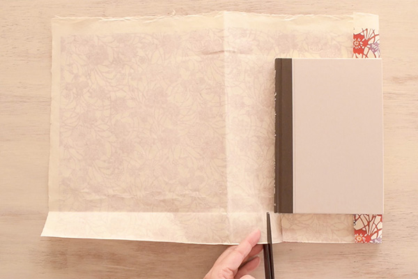 Step 4: Place your book along the folds,then cut two slits at the thickness of the book.