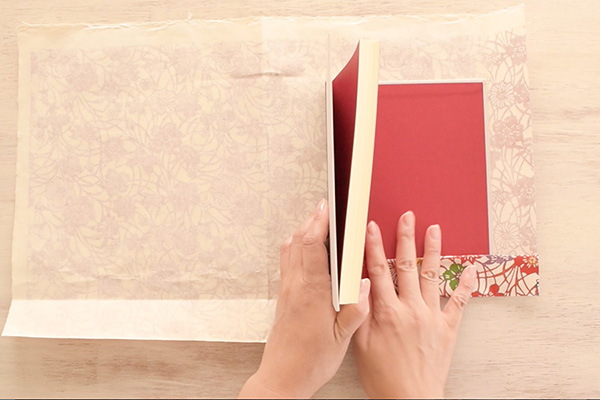 Step 6: Place the book along the creases again and fold the bottom paper up.
