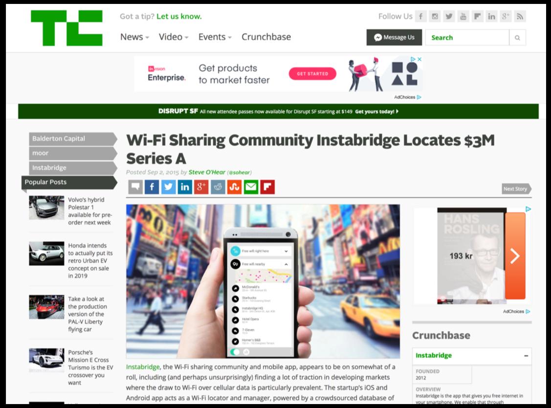 Instabridge's series A funding round got featured on TechCrunch