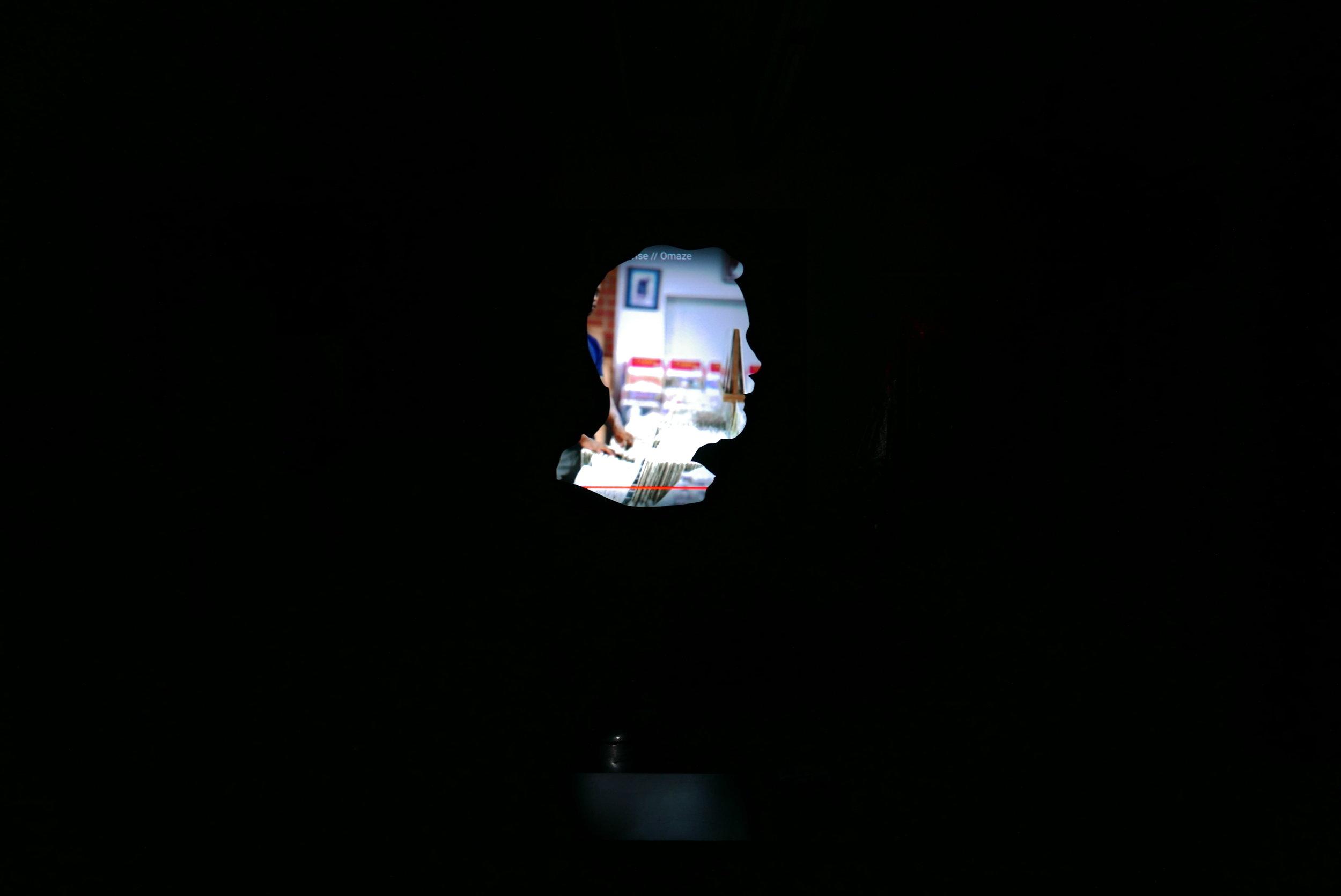 "PLAYBACK , 2018  Youtube watch history, Projector PVC Screen, wood, Mac Mini, software   52""X60"""