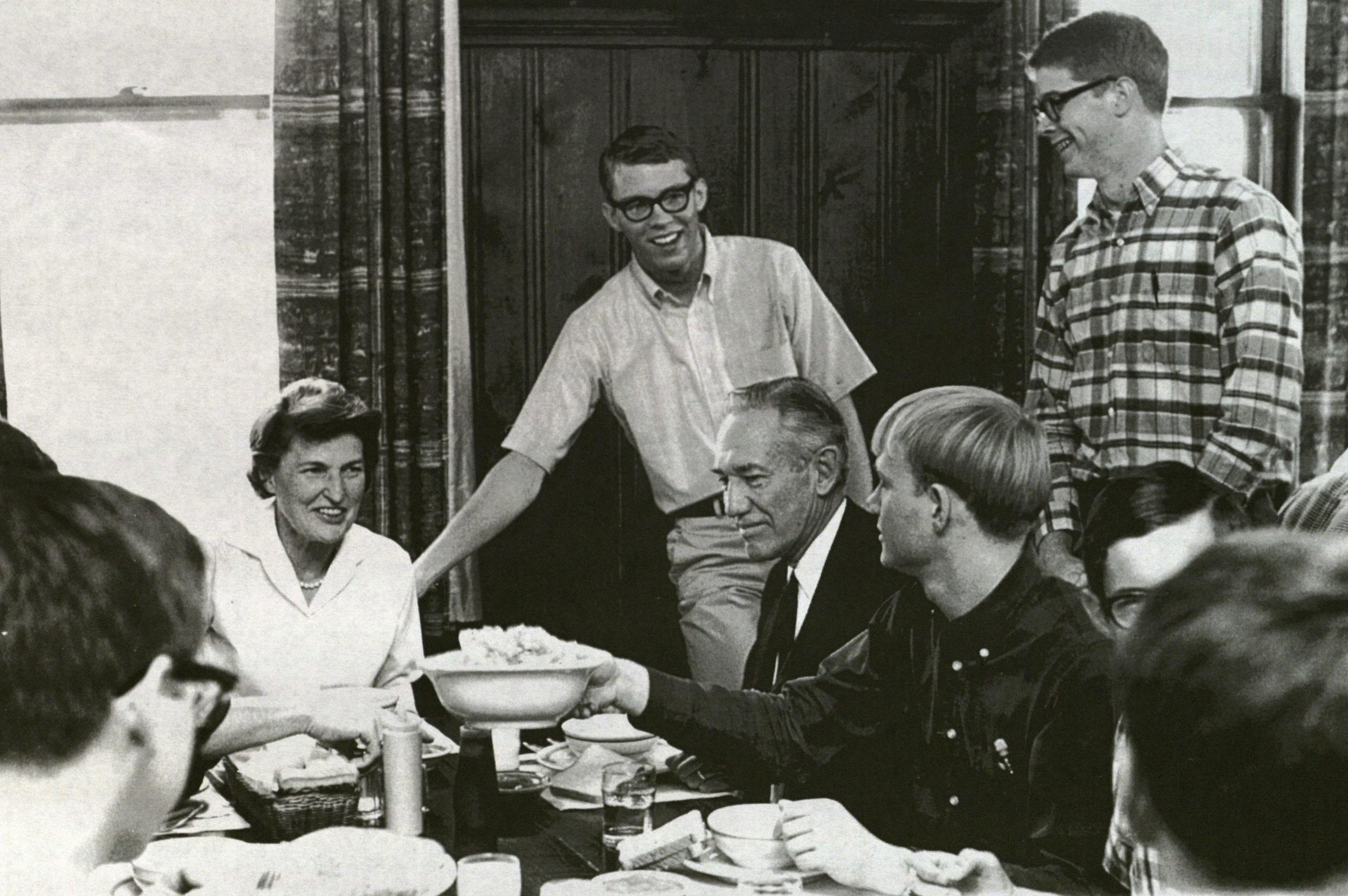 Deane Malott at dinner (1966)