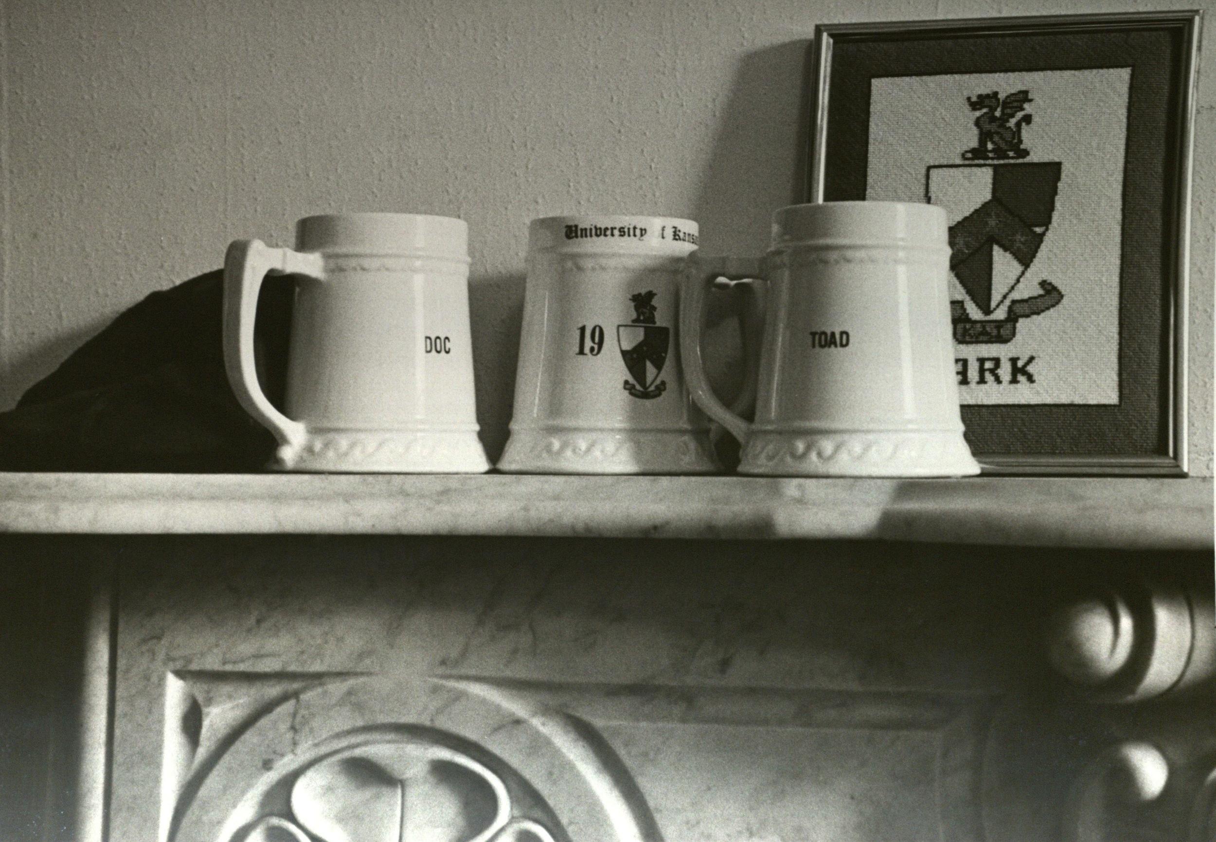 Mugs on the O'Club Mantle