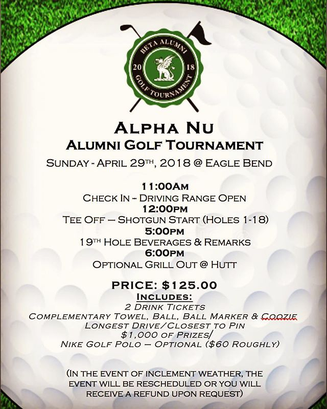Registration Deadline for the Golf Tournament is THIS SUNDAY, April 22nd. Make sure to register before then!