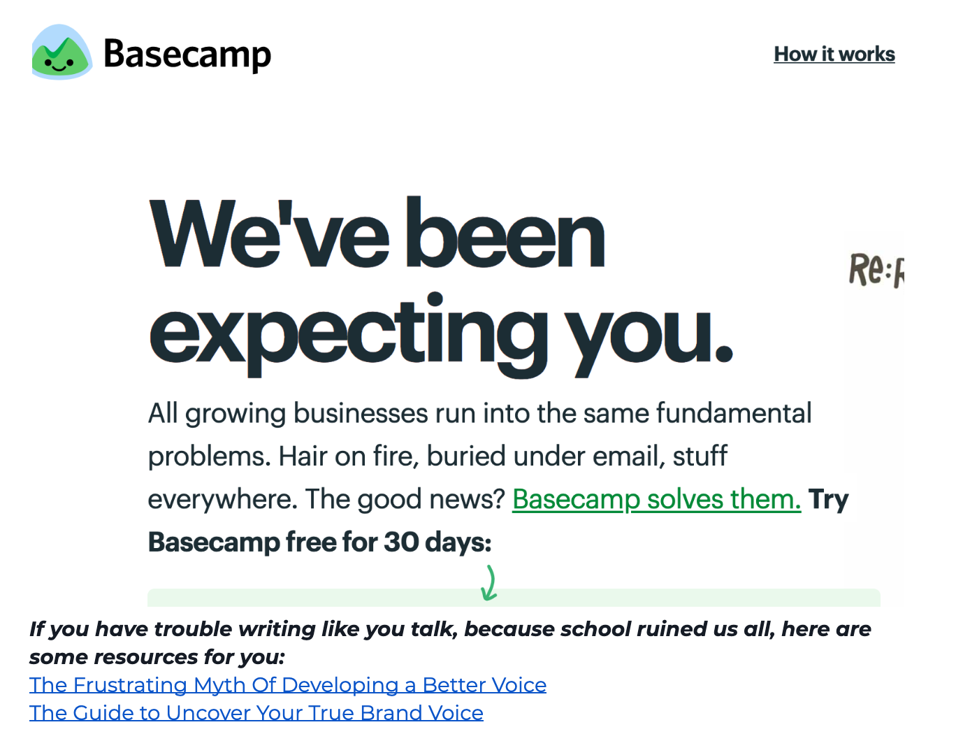 Jess, XO - When to be Clear vs. Clever in Copy Basecamp Example