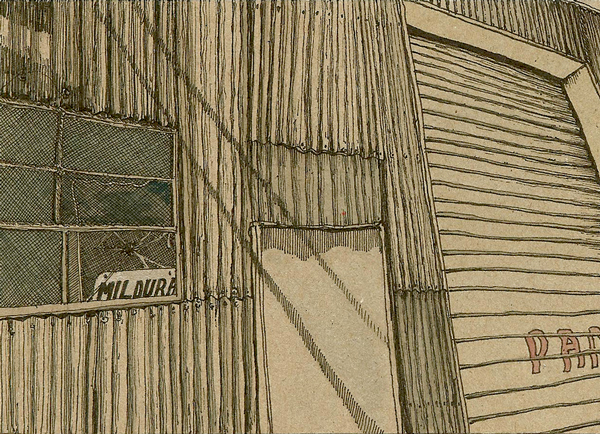 Daily (2011) 120x160mm, ink pigment & gouache on card. Location:Gregg & Sons Steel, Mildura VIC, Australia