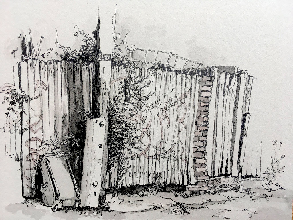 3.26PM Sunday 23 July 2017 (plein air) ink pen & gouache drawing on museum baord