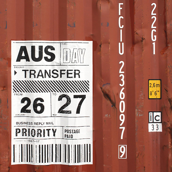 Change   poster,screen print, 30x40 in (76x102cm)on shipping container in rural NSW, Australia Photo: Alison Alder © 2017 Wendy Murray