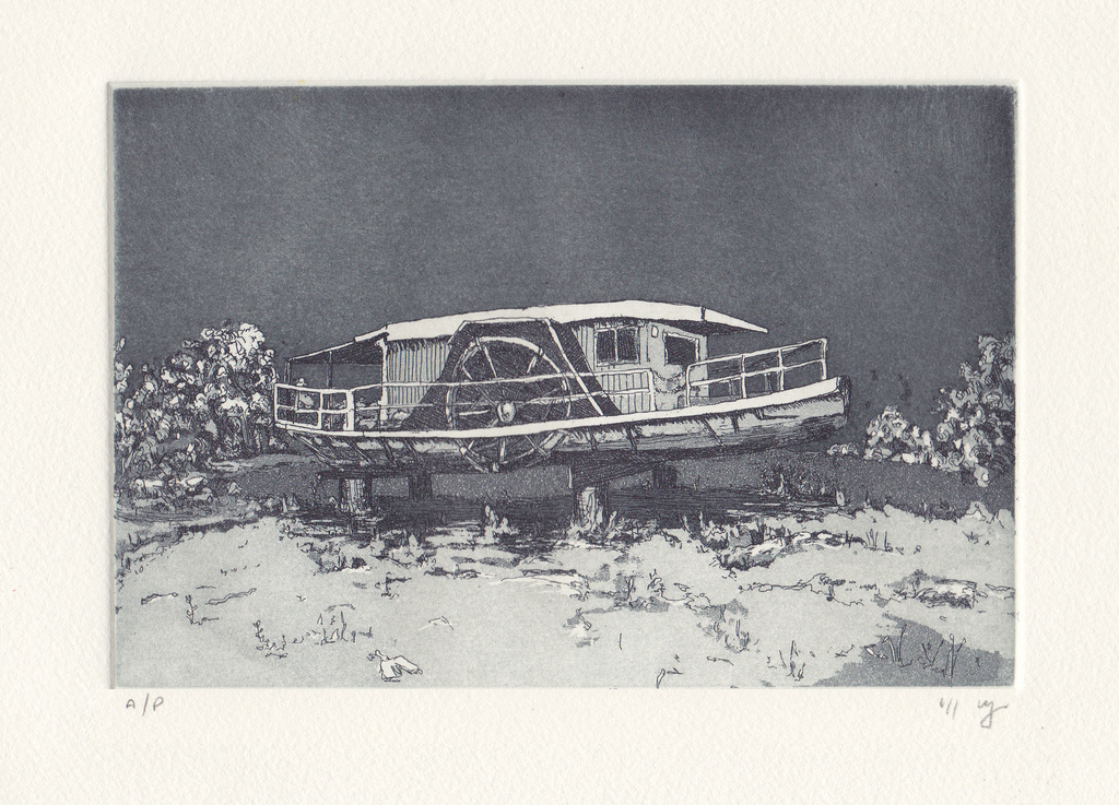 No Tide  2011 Etching and aquatint on Hahnemuehle, edition 10,260 x 240mm.Printed by Antonia Aitken at The Art Vault