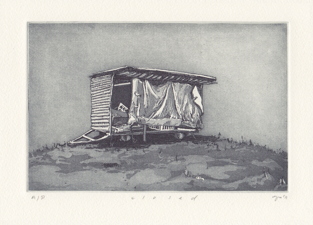 Closed  2011 Etching and aquatint on Hahnemuehle, edition 10,260 x 240mm.Printed by Antonia Aitken at The Art Vault