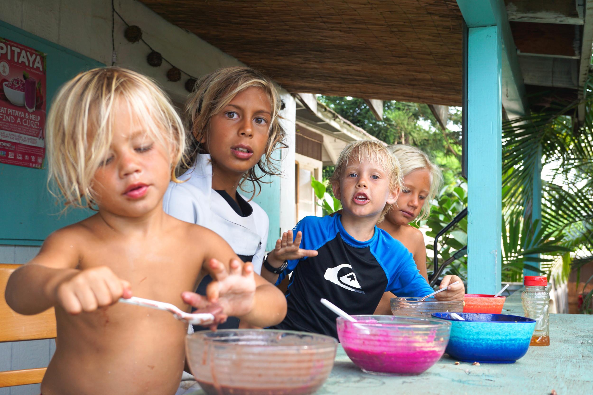 Kids Enjoying Smothie Bowls