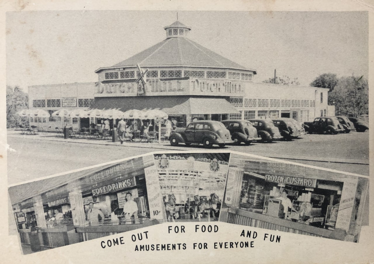 1940s postcard of Nunley's, soon after it had opened. It then consisted of Dutch Mill restaurant, and the carousel pavilion. Outdoor seating on Sunrise Highway! Collection of Dot Ness.