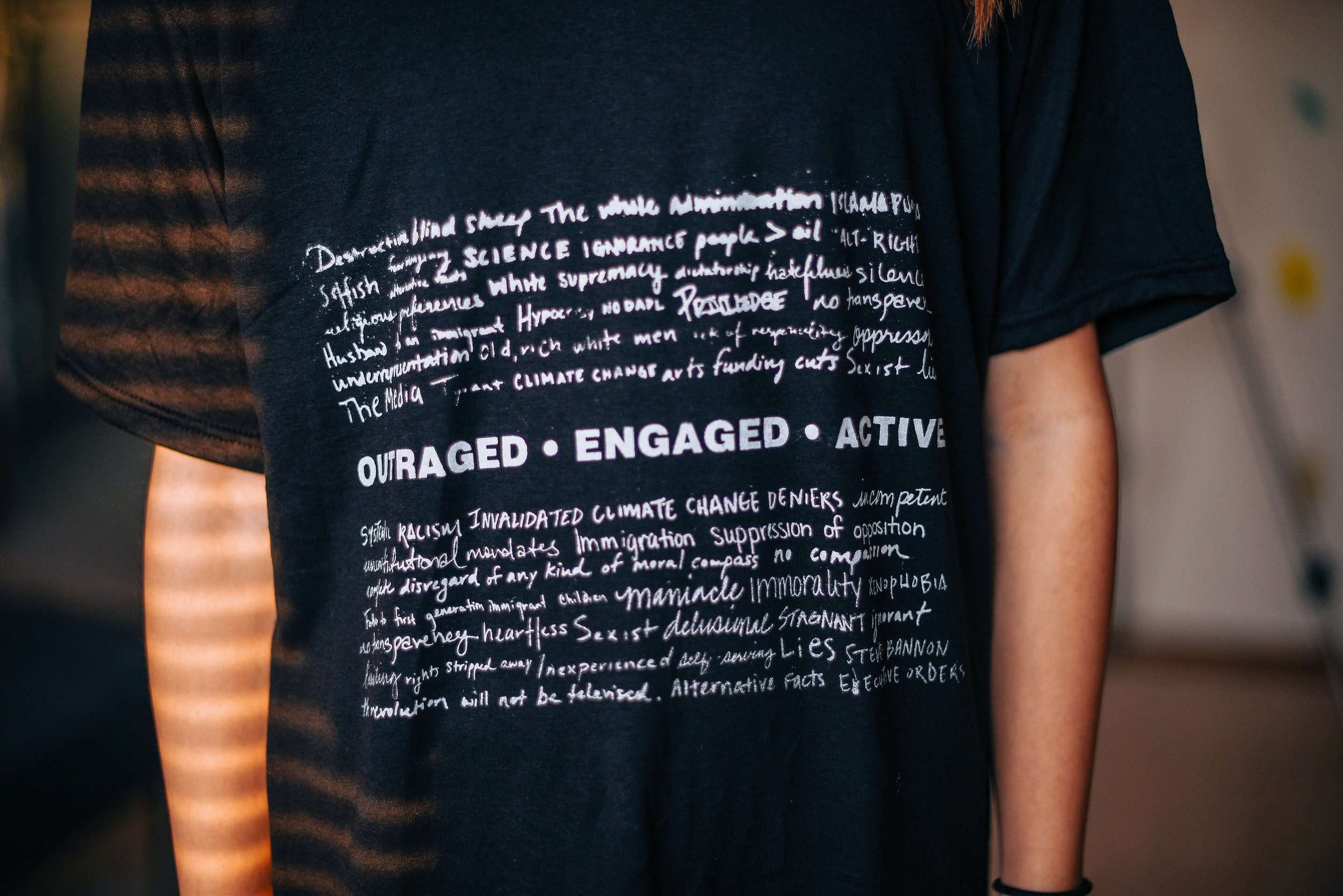 OUTRAGED, ENGAGED, ACTIVE ( quotes ) I encouraged my friends to participate in a project where I asked them to write a few words/reasons why they are outraged in this current political climate. The different handwritten responses are representative of the concerns shared by countless individuals.