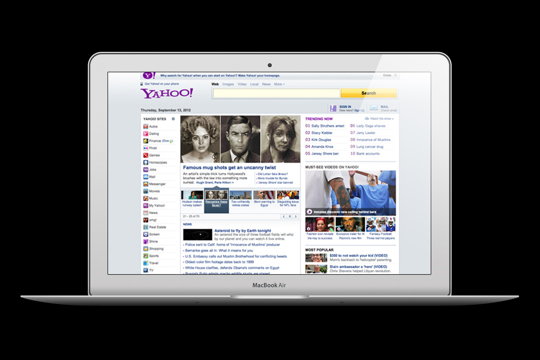FRONT PAGE OF YAHOO!