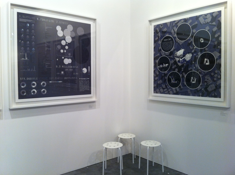 """Installation view at """"Art Stage Singapore 2011"""", Marina Bay Sands, Singapore, 2011: Michael Lee, No Unturned Stone , 2011;  Shishitv Tower , 2010, from the series """"Second-Hand City"""", presented by Chan Hampe Galleries, Singapore,photo by Michael Lee."""