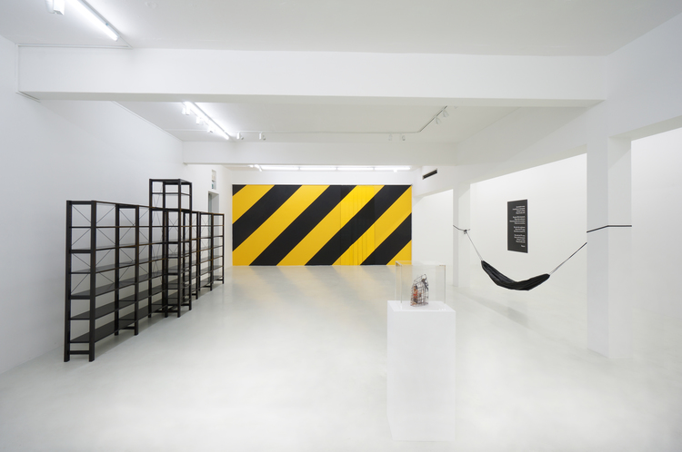 """Installation view at """"Machine for (Living) Dying In"""", Yavuz Fine Art, Singapore: Michael Lee, Slab ;  Diagonals ;  Hazard No. 1 ;  Script for an Unperformed Performance No. 1 , all 2014, photo by Ken Cheong."""
