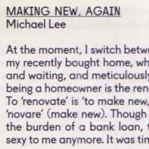 "Michael Lee, ""Making New, Again"", 2015"