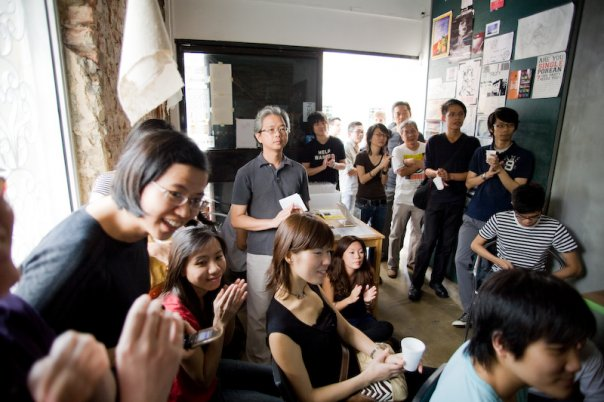 Launch of Preoccupations: Things Artists Do Anyway, 2008, at Post-Museum, Rowell Road, Singapore, photo by Tan Hai Han.