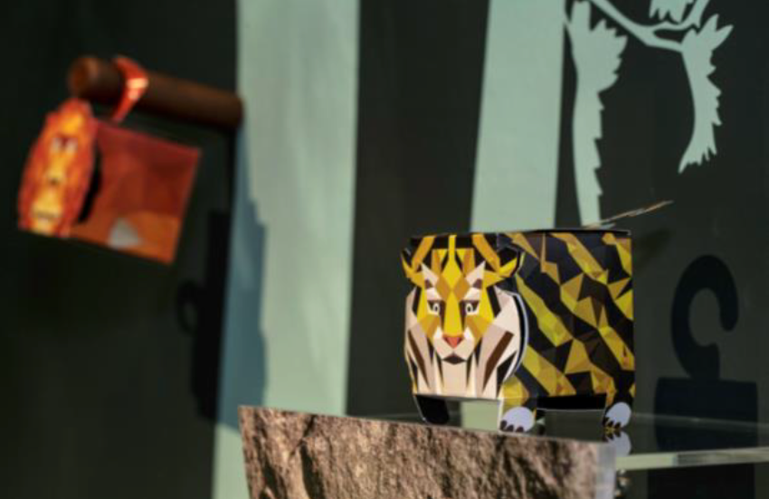 Close-up of tiger and orangutan die-cuts