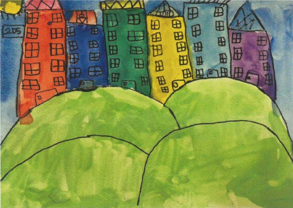 """My House"" is a colourful rendition of 14-year old Muhammad Hasreen Bin Muhd Hasron's neighbourhood in Ang Mo Kio"