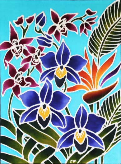A painting of orchids by 30-year-old Seah Chee Meng, a resident Batik artist at Arts@Metta