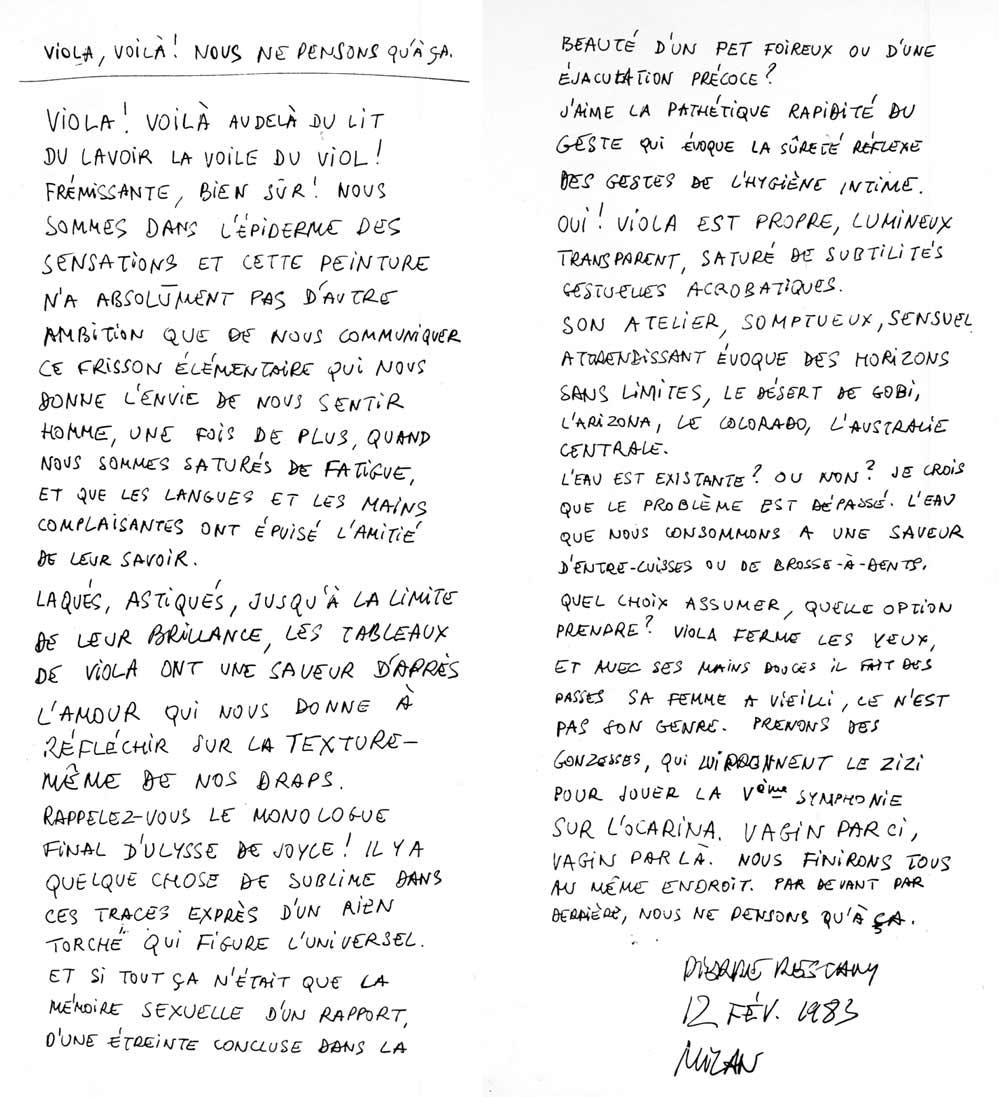 Testo autografo di Pierre Restany