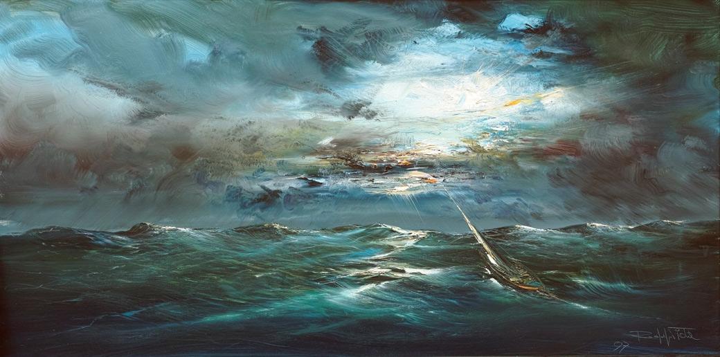 Rodolfo Viola , S ulla rotta , oil on canvas, 60 x 120 cm