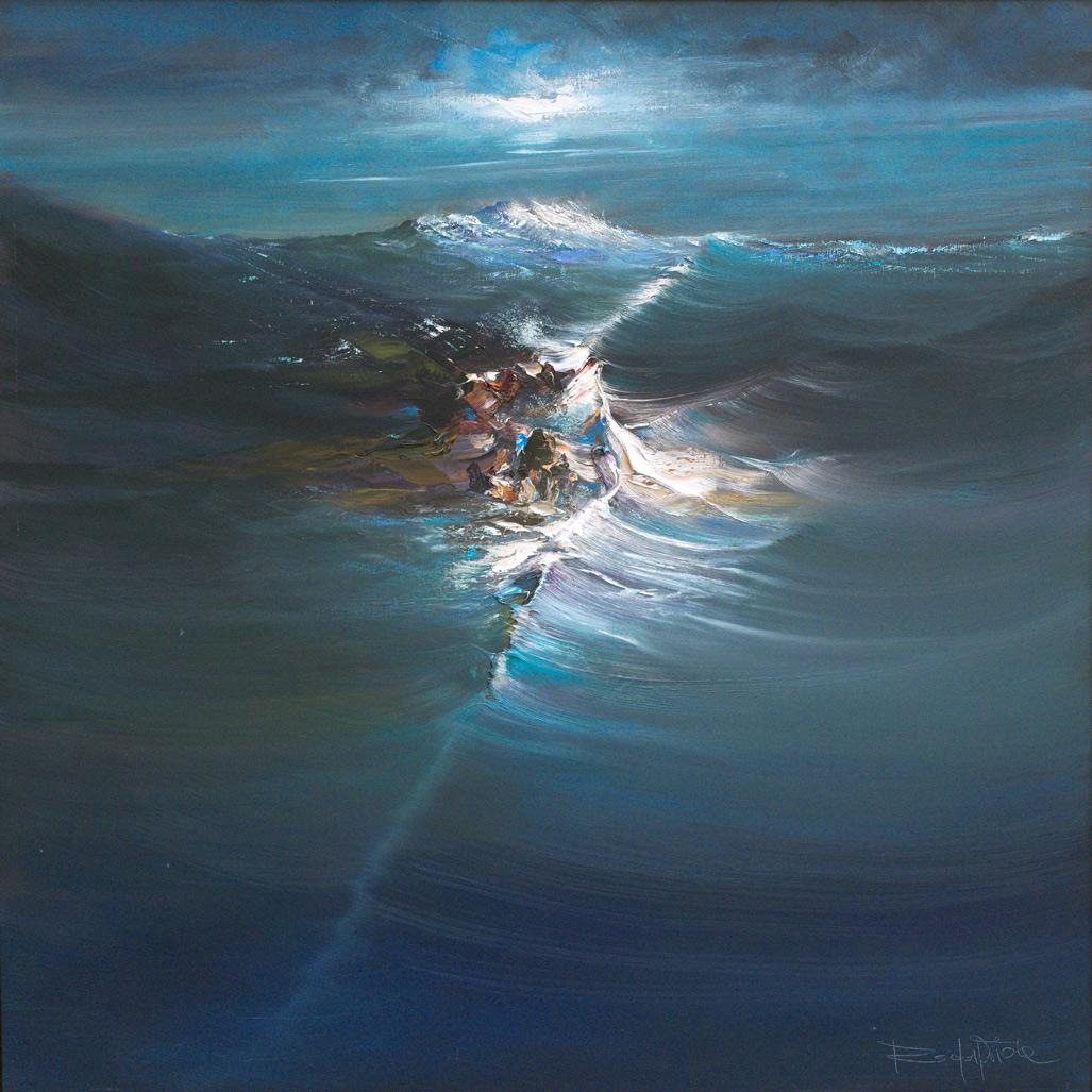 Rodolfo Viola ,  Roccia sul mare , oil on canvas, 100 x 100 cm.