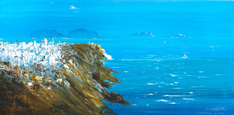 Rodolfo Viola ,  Il sorriso bianco di Santorini , oil on canvas, 80 x 160 cm