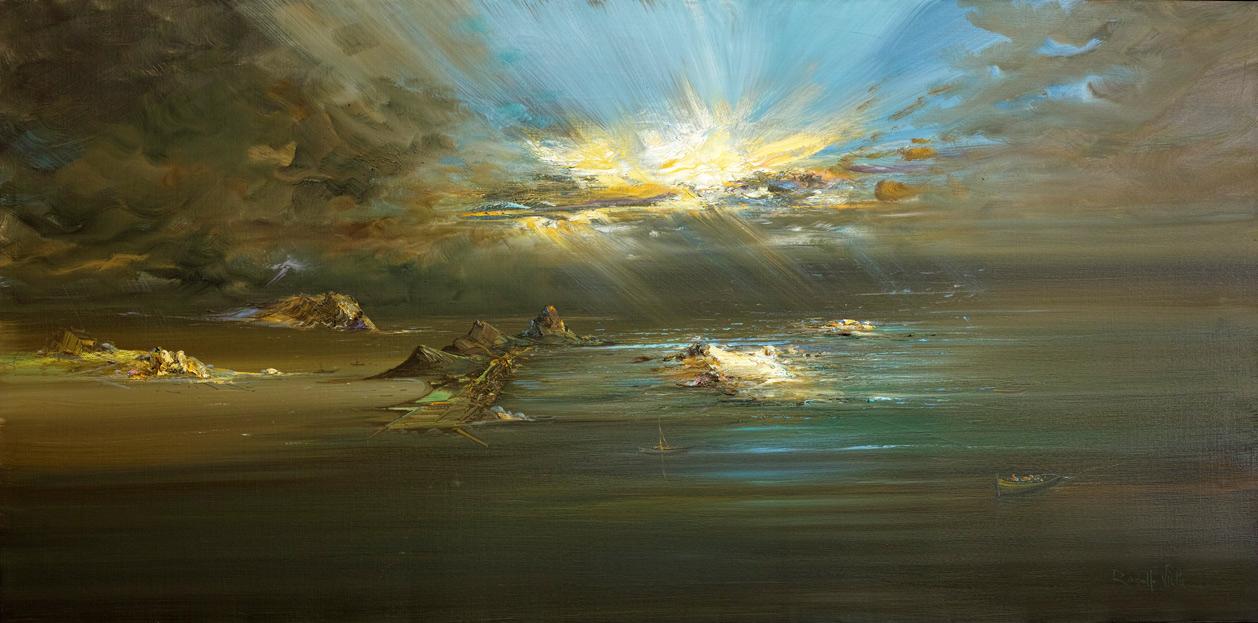 Rodolfo Viola ,  Ho sognato un posto, oil on canvas, 100 x 200 cm.