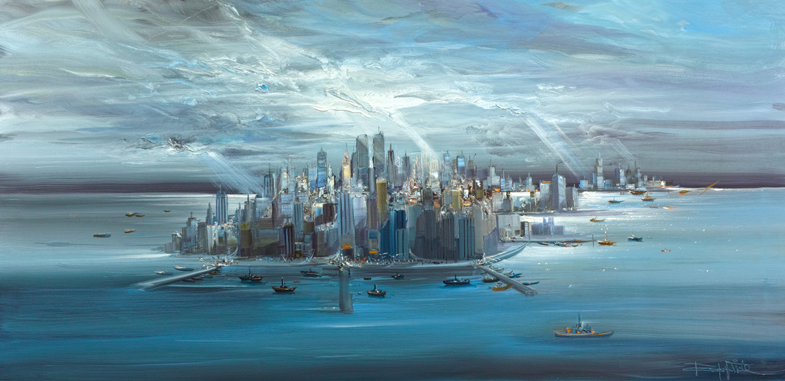 Rodolfo Viola ,  New York 2007  , oil on canvas, 80 x 160 cm.