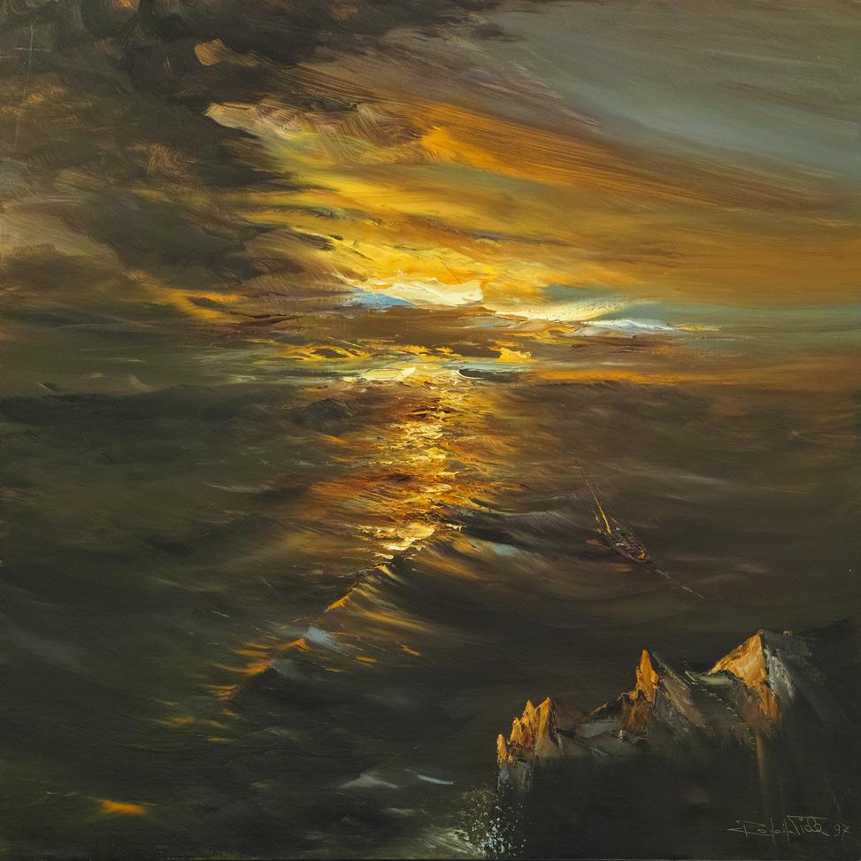 Rodolfo Viola ,  (Marina) , oil on canvas, 100 x 100 cm.