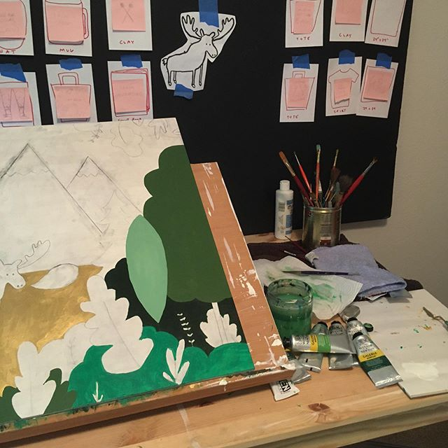 A little #sneakpeek into something I can't wait to fully share. 🎨  #illustration #art #originalart #artistsoninstagram #acrylic #painting #process #artprocess #wip #artstudio #moose