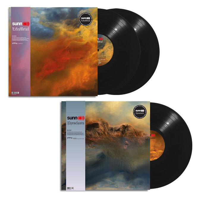 SUNN O))) - 2019 album covers: Life Metal (top) & Pyroclasts (bottom)