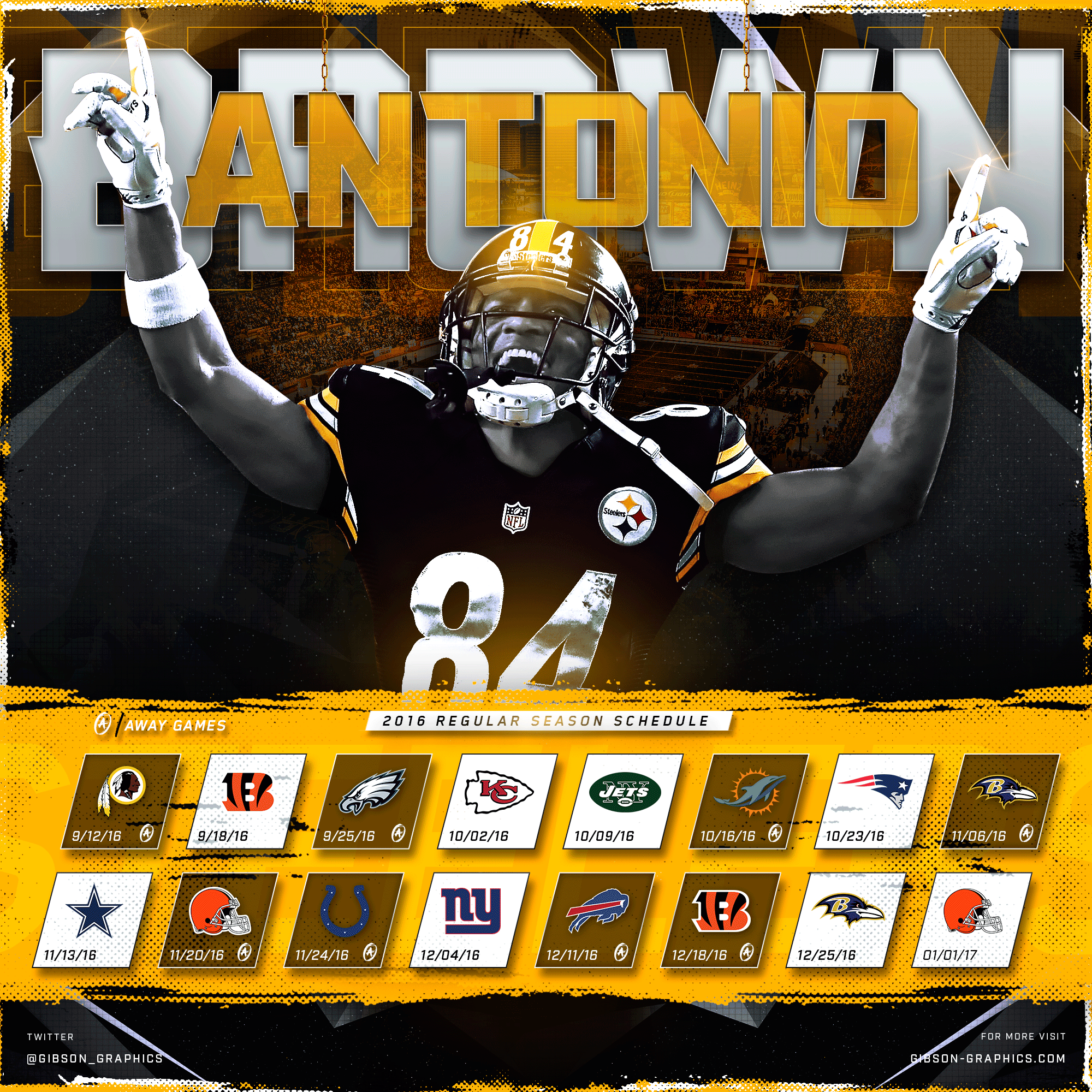Antonio Brown 2016 NFL Schedule