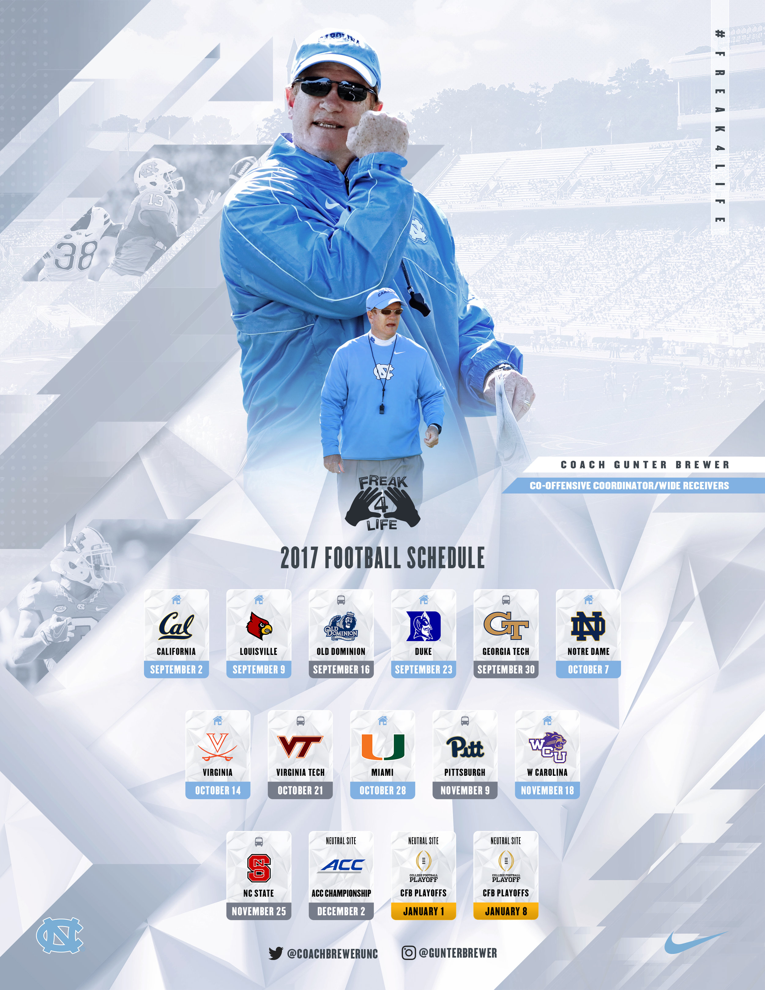 Coach Brewer 2017 UNC Football Schedule