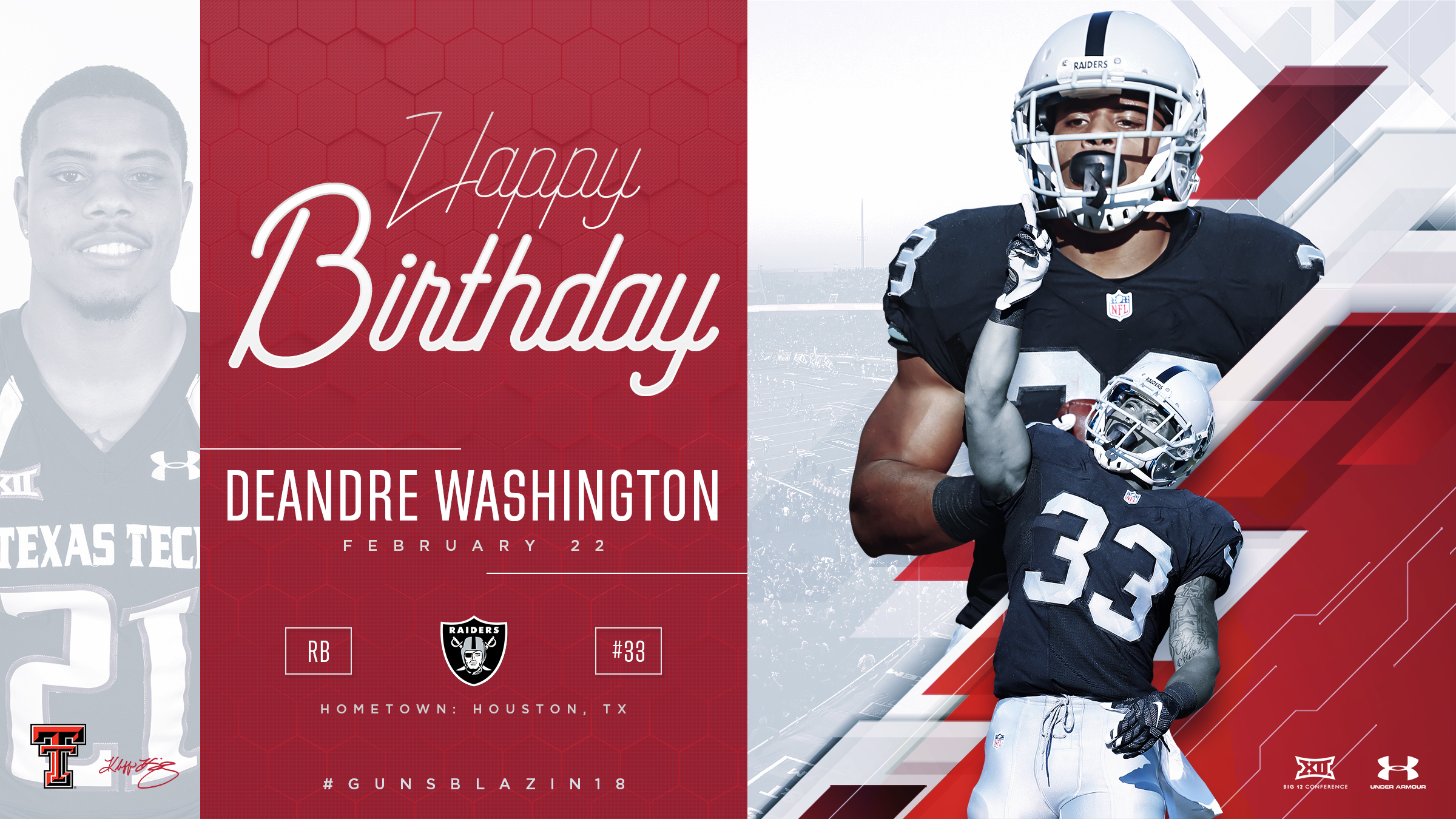 TTU DeAndre Washington Birthday Graphic