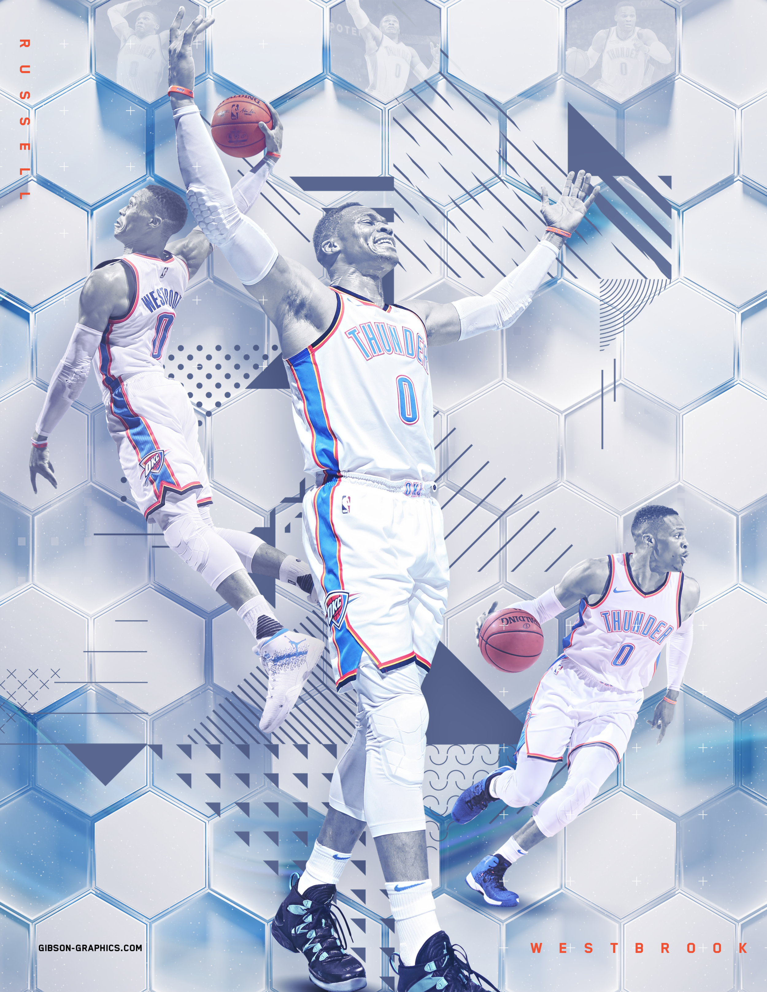 Russell Westbrook Abstract Hexagon Artwork