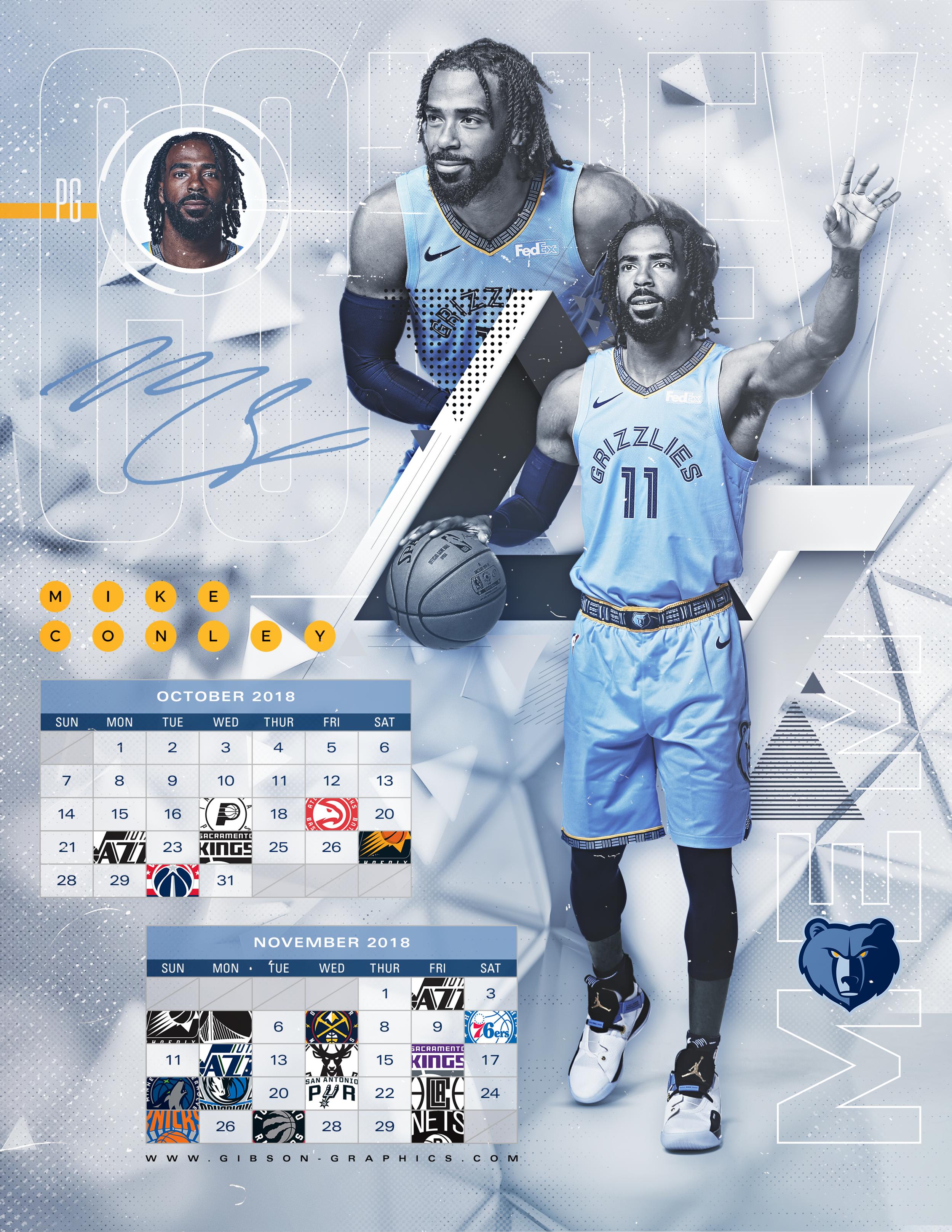 Mike Conley Memphis Grizzlies October & November NBA Schedule