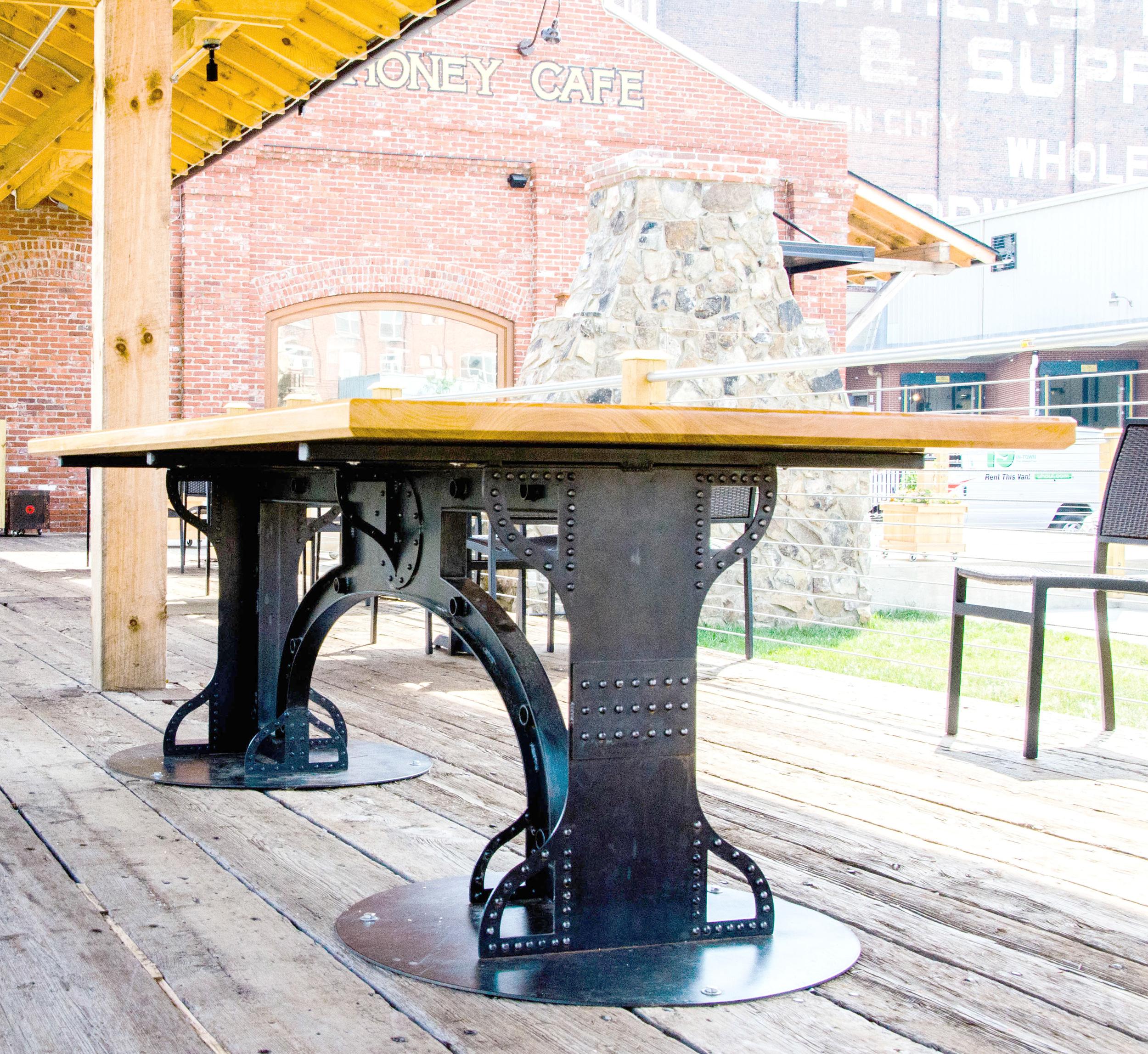 Custom rivetted tables for Tupelo Honey JC