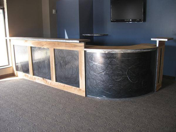 Custom wood and steel reception desk